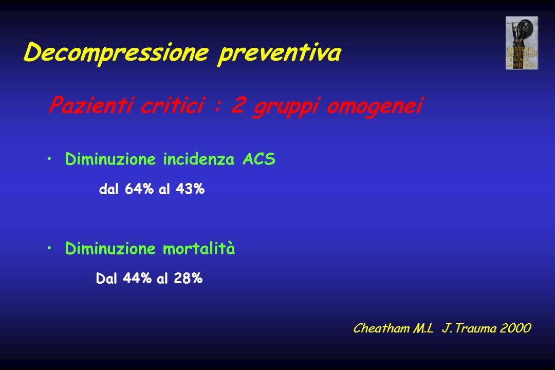 Decompressione preventiva Diminuzione incidenza ACS dal 64% al 43% Diminuzione mortalità Dal 44% al 28% Cheatham M.L J.Trauma 2000 Pazienti critici :