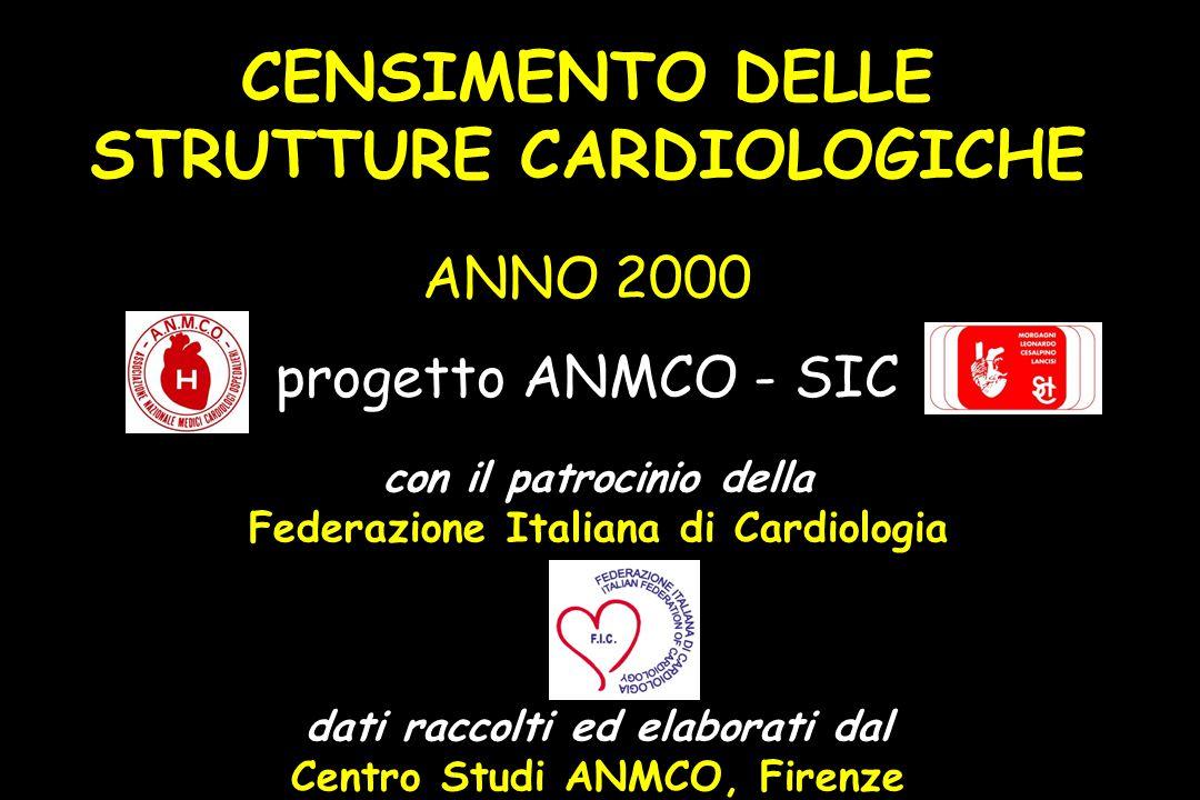 CENSIMENTO DELLE STRUTTURE CARDIOLOGICHE ANNO 2000 progetto ANMCO - SIC con il patrocinio della Federazione Italiana di Cardiologia dati raccolti ed elaborati dal Centro Studi ANMCO, Firenze