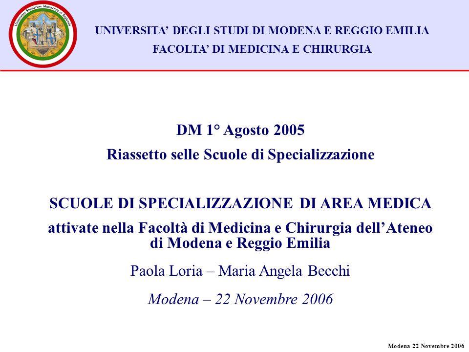 Modena 22 Novembre 2006 UNIVERSITA' DEGLI STUDI DI MODENA E REGGIO EMILIA FACOLTA' DI MEDICINA E CHIRURGIA DM 1° Agosto 2005 Riassetto selle Scuole di