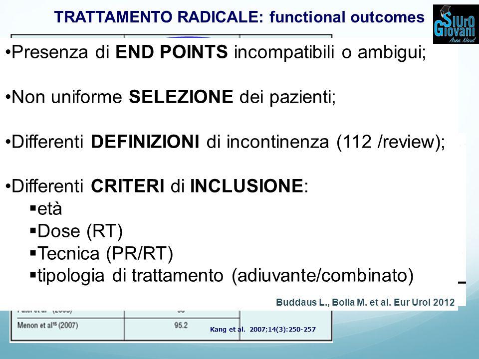 TRATTAMENTO RADICALE: functional outcomes Kang et al.