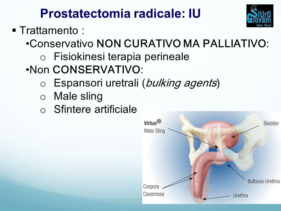 Prostatectomia radicale: IU  Trattamento : Conservativo NON CURATIVO MA PALLIATIVO: o Fisiokinesi terapia perineale Non CONSERVATIVO: o Espansori uretrali (bulking agents) o Male sling o Sfintere artificiale