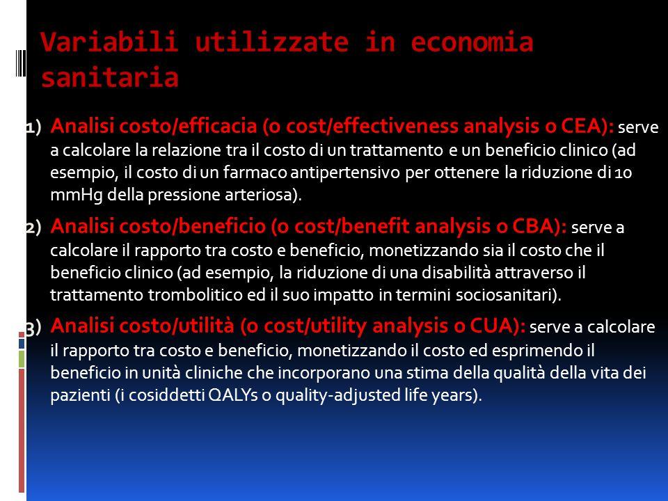 Variabili utilizzate in economia sanitaria 1) Analisi costo/efficacia (o cost/effectiveness analysis o CEA): serve a calcolare la relazione tra il cos
