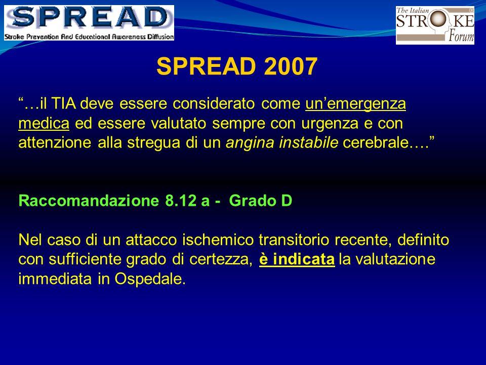"""SPREAD 2007 """"…il TIA deve essere considerato come un'emergenza medica ed essere valutato sempre con urgenza e con attenzione alla stregua di un angina"""