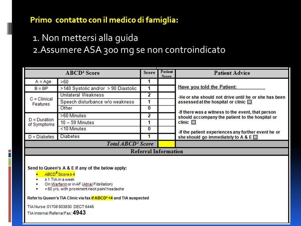 Primo contatto con il medico di famiglia: 1. Non mettersi alla guida 2.Assumere ASA 300 mg se non controindicato
