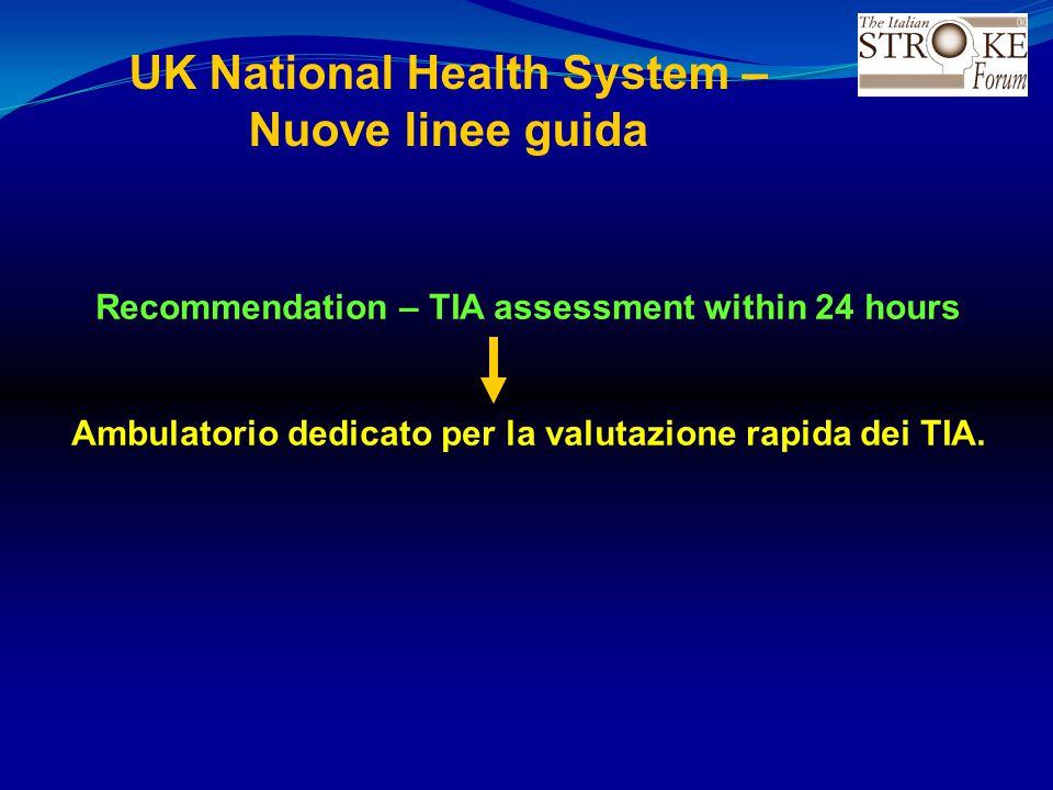 UK National Health System – Nuove linee guida Recommendation – TIA assessment within 24 hours Ambulatorio dedicato per la valutazione rapida dei TIA.