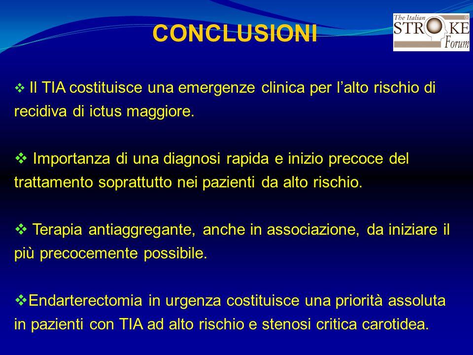 CONCLUSIONI  Il TIA costituisce una emergenze clinica per l'alto rischio di recidiva di ictus maggiore.  Importanza di una diagnosi rapida e inizio