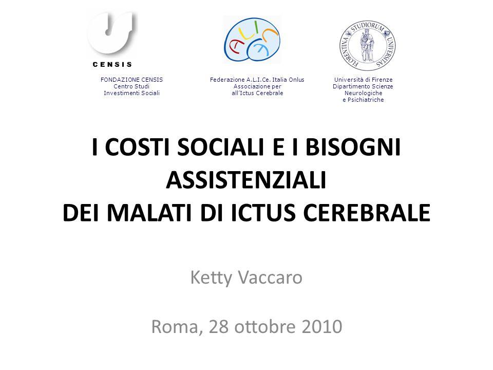 I COSTI SOCIALI E I BISOGNI ASSISTENZIALI DEI MALATI DI ICTUS CEREBRALE Ketty Vaccaro Roma, 28 ottobre 2010 FONDAZIONE CENSIS Centro Studi Investiment