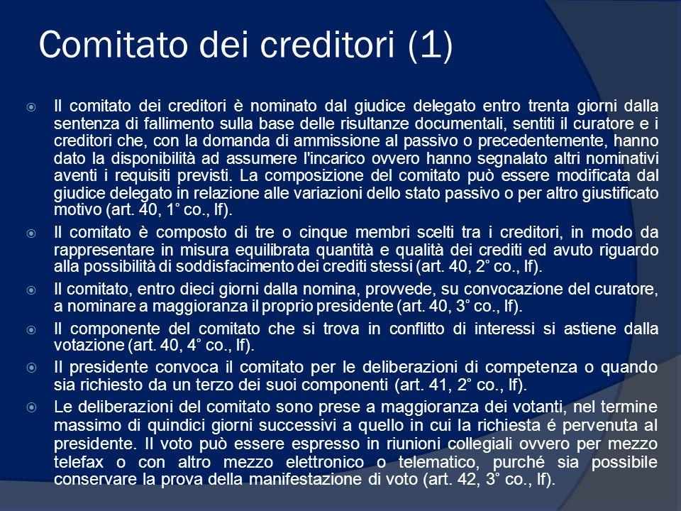 Comitato dei creditori (1)  Il comitato dei creditori è nominato dal giudice delegato entro trenta giorni dalla sentenza di fallimento sulla base del