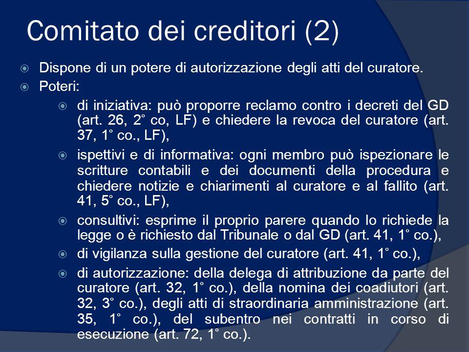 Comitato dei creditori (2)  Dispone di un potere di autorizzazione degli atti del curatore.  Poteri:  di iniziativa: può proporre reclamo contro i