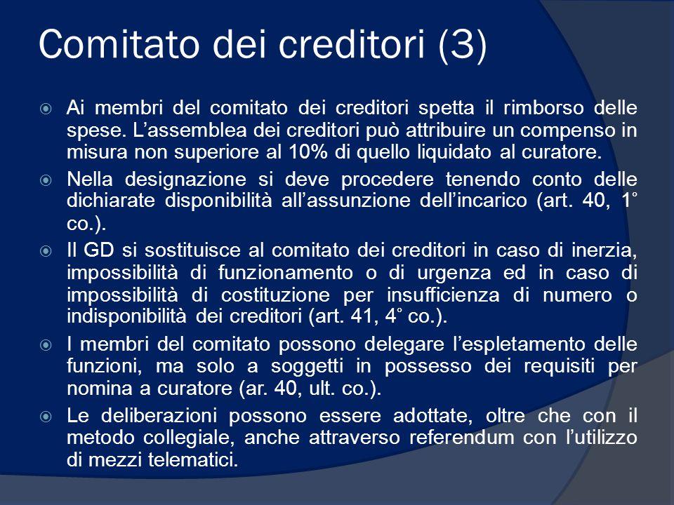Comitato dei creditori (3)  Ai membri del comitato dei creditori spetta il rimborso delle spese. L'assemblea dei creditori può attribuire un compenso