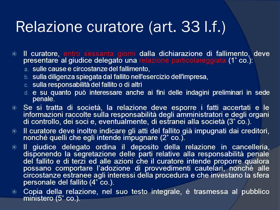 Rapporti periodici del curatore (art.