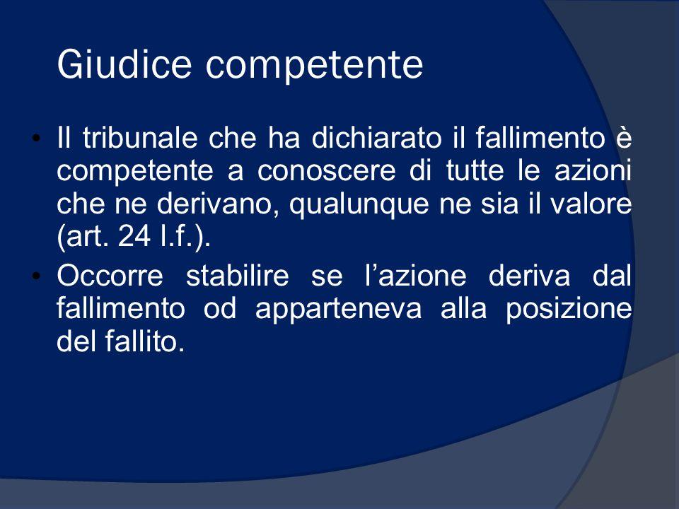 Giudice competente Il tribunale che ha dichiarato il fallimento è competente a conoscere di tutte le azioni che ne derivano, qualunque ne sia il valor