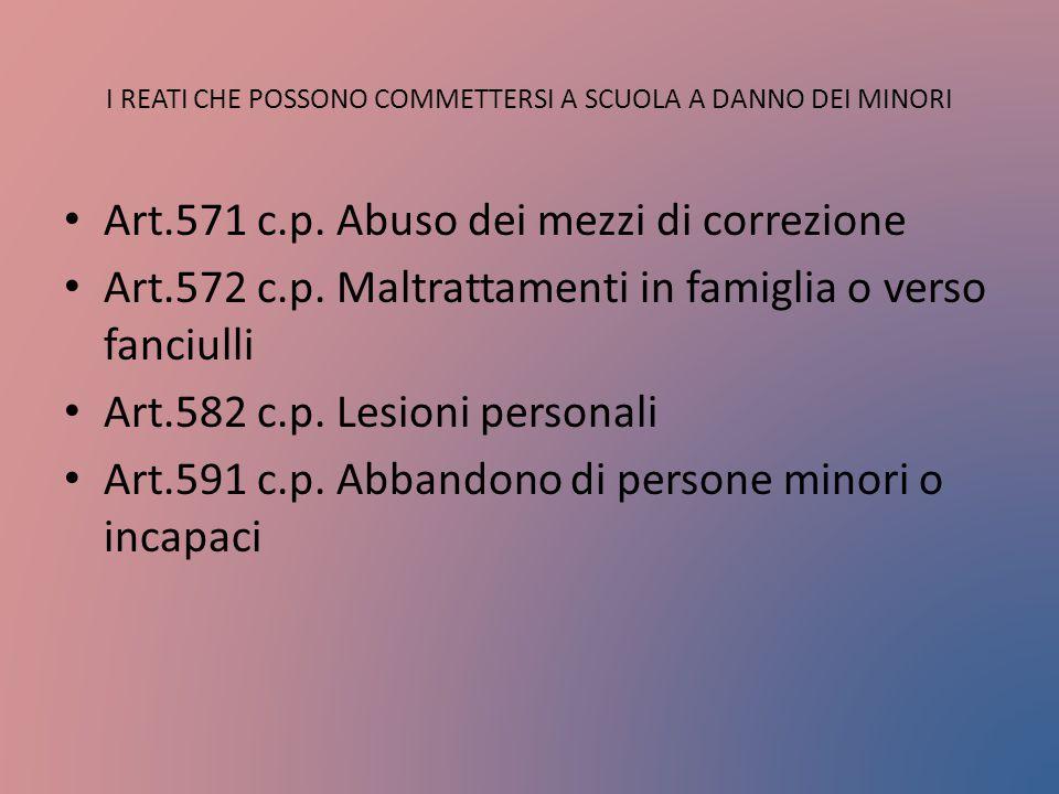 I REATI CHE POSSONO COMMETTERSI A SCUOLA A DANNO DEI MINORI Art.571 c.p. Abuso dei mezzi di correzione Art.572 c.p. Maltrattamenti in famiglia o verso