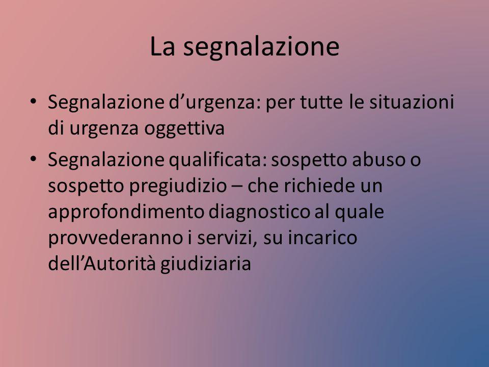 La segnalazione Segnalazione d'urgenza: per tutte le situazioni di urgenza oggettiva Segnalazione qualificata: sospetto abuso o sospetto pregiudizio –