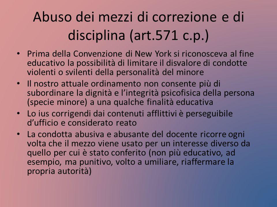 Abuso dei mezzi di correzione e di disciplina (art.571 c.p.) Prima della Convenzione di New York si riconosceva al fine educativo la possibilità di li