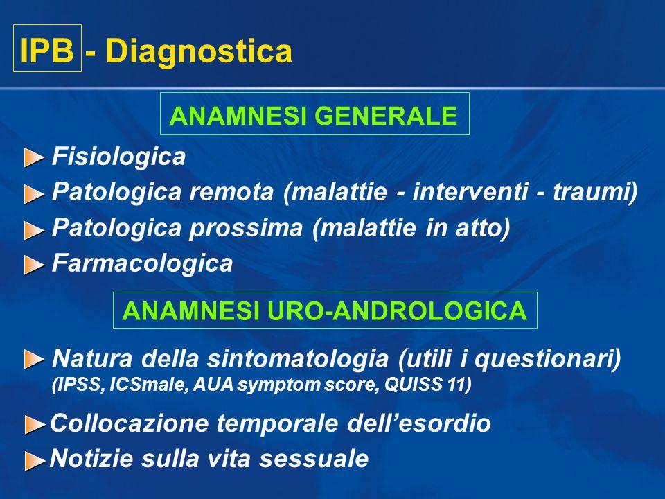 Collocazione temporale dell'esordio Notizie sulla vita sessuale IPB - Diagnostica ANAMNESI GENERALE Fisiologica Patologica remota (malattie - interven