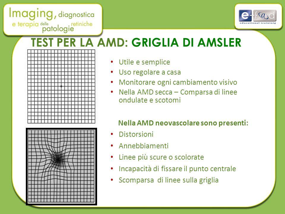 Utile e semplice Uso regolare a casa Monitorare ogni cambiamento visivo Nella AMD secca – Comparsa di linee ondulate e scotomi Nella AMD neovascolare