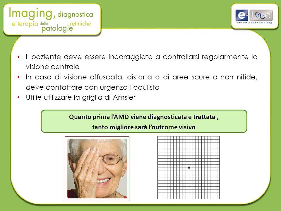 Il paziente deve essere incoraggiato a controllarsi regolarmente la visione centrale In caso di visione offuscata, distorta o di aree scure o non niti