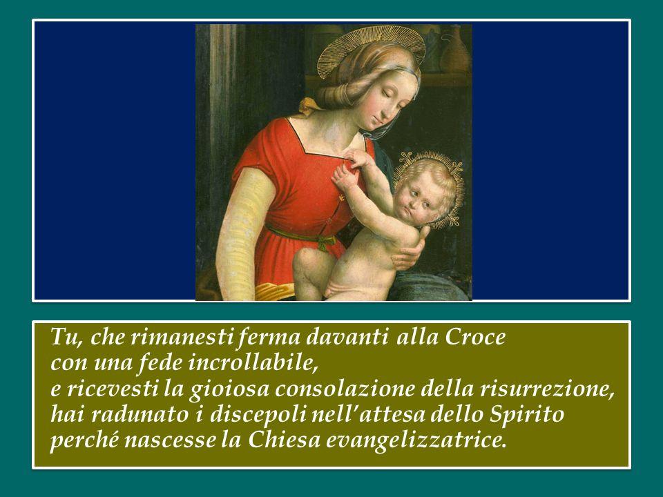 Tu, ricolma della presenza di Cristo, hai portato la gioia a Giovanni il Battista, facendolo esultare nel seno di sua madre. Tu, trasalendo di giubilo