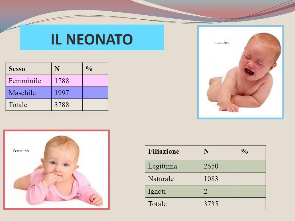 SessoN% Femminile1788 Maschile1997 Totale3788 FiliazioneN% Legittima2650 Naturale1083 Ignoti2 Totale3735 maschio femmina IL NEONATO