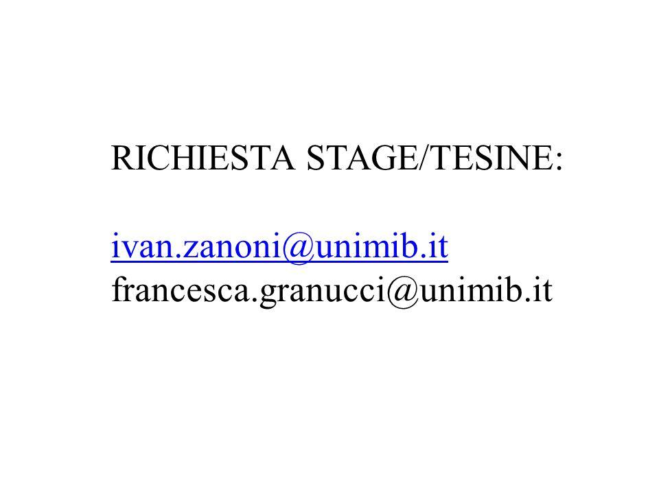 RICHIESTA STAGE/TESINE: ivan.zanoni@unimib.it francesca.granucci@unimib.it