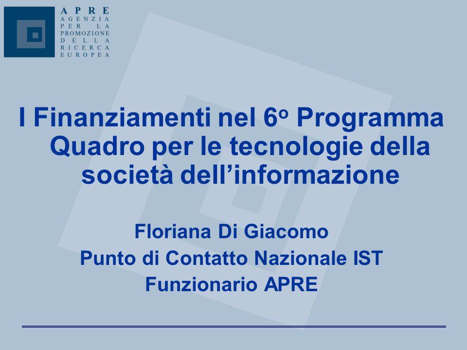 I Finanziamenti nel 6 o Programma Quadro per le tecnologie della società dell'informazione Floriana Di Giacomo Punto di Contatto Nazionale IST Funzion