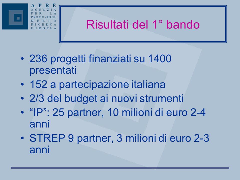 Risultati del 1° bando 236 progetti finanziati su 1400 presentati 152 a partecipazione italiana 2/3 del budget ai nuovi strumenti IP : 25 partner, 10 milioni di euro 2-4 anni STREP 9 partner, 3 milioni di euro 2-3 anni