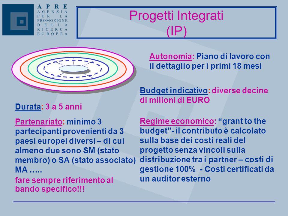 Autonomia: Piano di lavoro con il dettaglio per i primi 18 mesi Progetti Integrati (IP) Durata: 3 a 5 anni Partenariato: minimo 3 partecipanti proveni