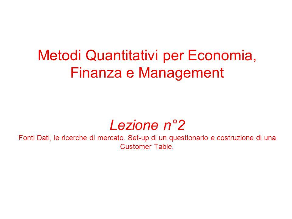 Metodi Quantitativi per Economia, Finanza e Management Lezione n°2 Fonti Dati, le ricerche di mercato.