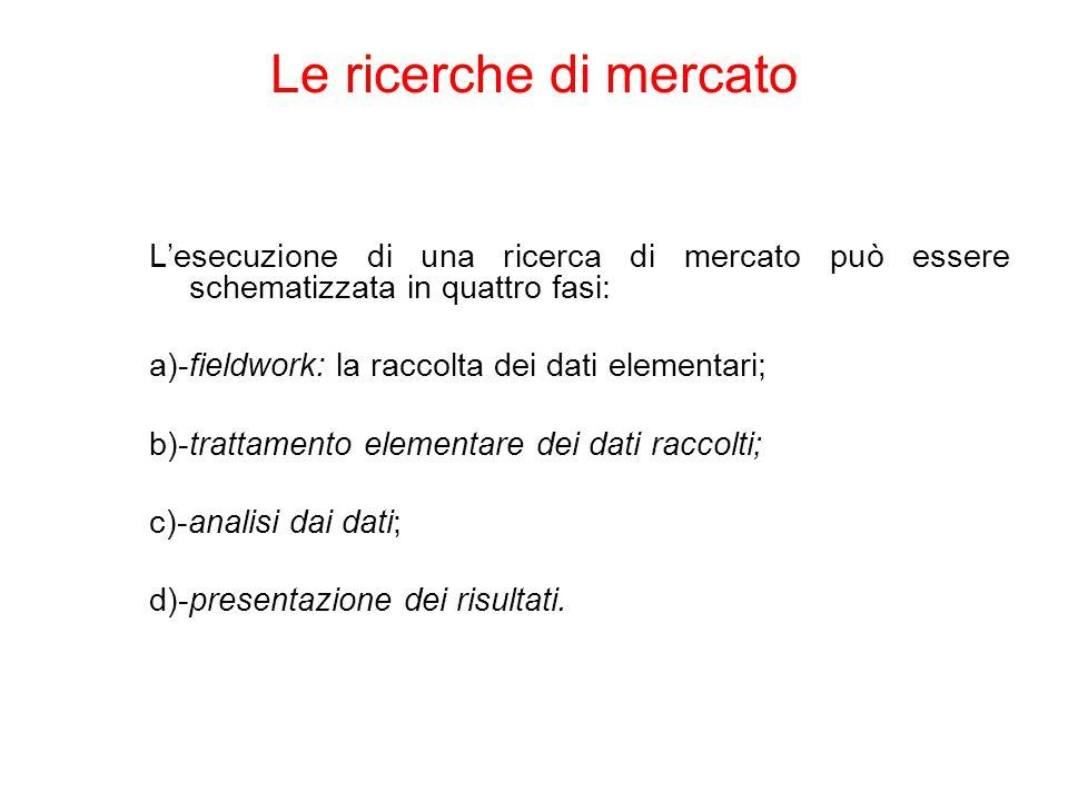 L'esecuzione di una ricerca di mercato può essere schematizzata in quattro fasi: a)-fieldwork: la raccolta dei dati elementari; b)-trattamento elementare dei dati raccolti; c)-analisi dai dati; d)-presentazione dei risultati.