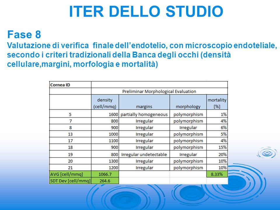 Fase 8 Valutazione di verifica finale dell'endotelio, con microscopio endoteliale, secondo i criteri tradizionali della Banca degli occhi (densità cel