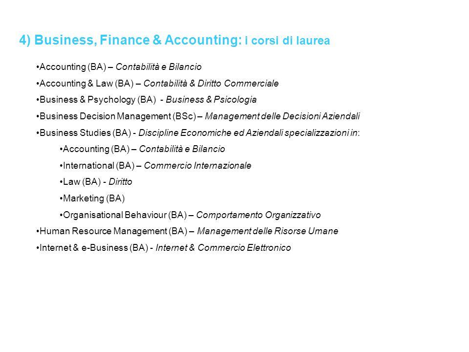 4) Business, Finance & Accounting: i corsi di laurea Accounting (BA) – Contabilità e Bilancio Accounting & Law (BA) – Contabilità & Diritto Commercial