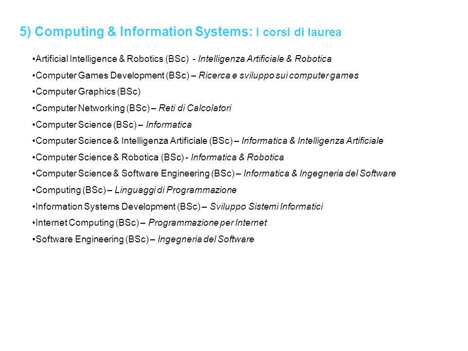 5) Computing & Information Systems: i corsi di laurea Artificial Intelligence & Robotics (BSc) - Intelligenza Artificiale & Robotica Computer Games De