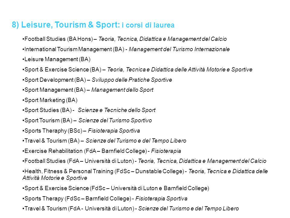 8) Leisure, Tourism & Sport: i corsi di laurea Football Studies (BA Hons) – Teoria, Tecnica, Didattica e Management del Calcio International Tourism M