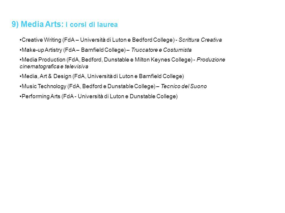 9) Media Arts: i corsi di laurea Creative Writing (FdA – Università di Luton e Bedford College) - Scrittura Creativa Make-up Artistry (FdA – Barnfield