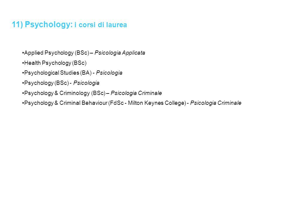 11) Psychology: i corsi di laurea Applied Psychology (BSc) – Psicologia Applicata Health Psychology (BSc) Psychological Studies (BA) - Psicologia Psyc