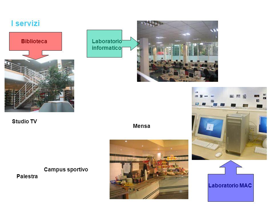 I servizi Mensa Campus sportivo Palestra Teatro Studio TV BibliotecaLaboratorio informatico Laboratorio MAC