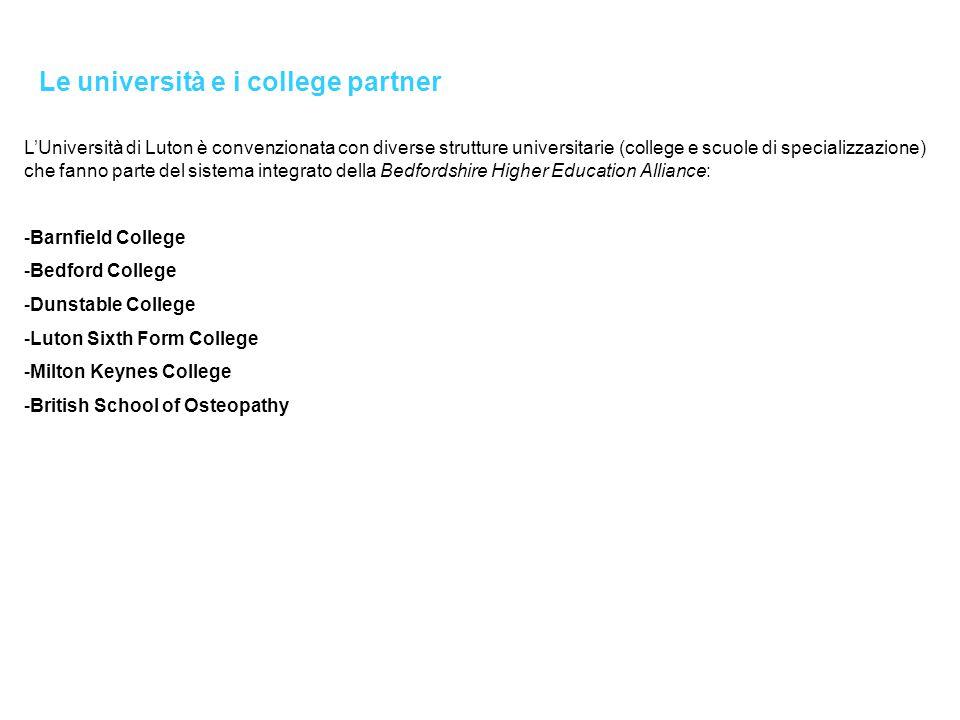 Le università e i college partner L'Università di Luton è convenzionata con diverse strutture universitarie (college e scuole di specializzazione) che fanno parte del sistema integrato della Bedfordshire Higher Education Alliance: -Barnfield College -Bedford College -Dunstable College -Luton Sixth Form College -Milton Keynes College -British School of Osteopathy