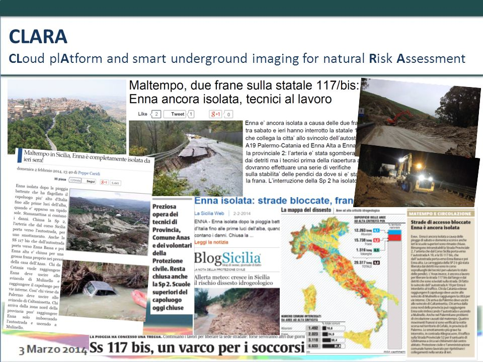 CLARA CLoud plAtform and smart underground imaging for natural Risk Assessment