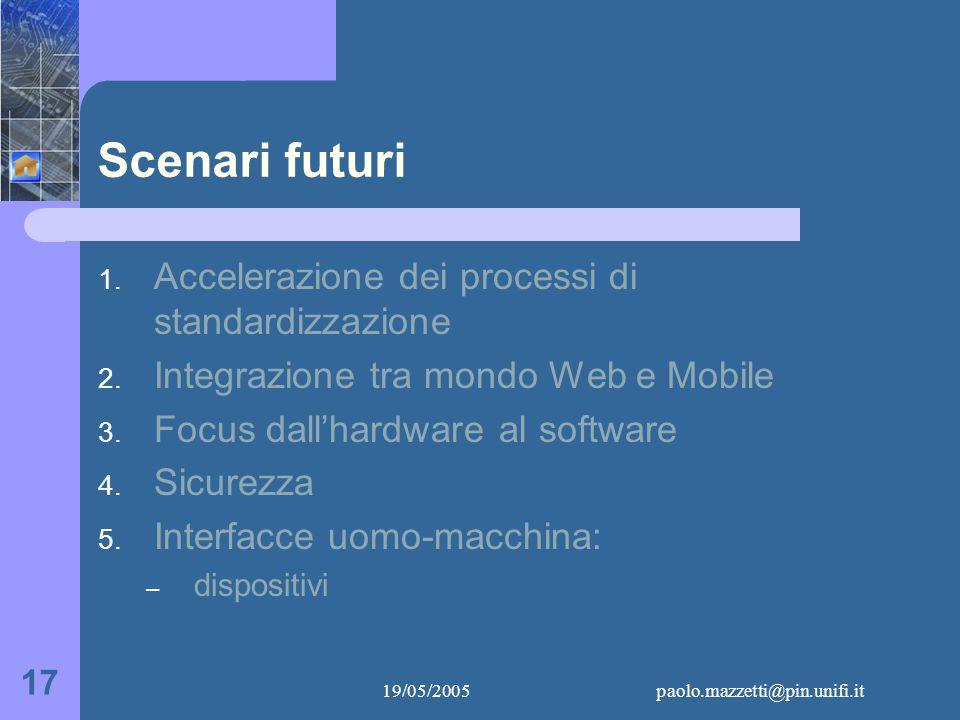 19/05/2005paolo.mazzetti@pin.unifi.it 17 Scenari futuri 1.