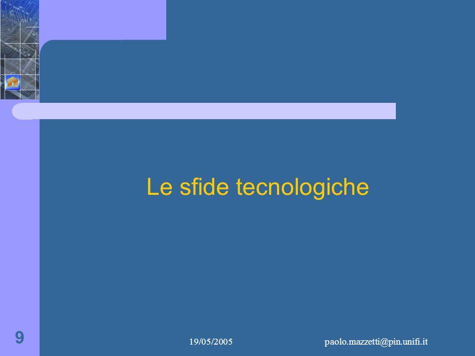 19/05/2005paolo.mazzetti@pin.unifi.it 9 Le sfide tecnologiche