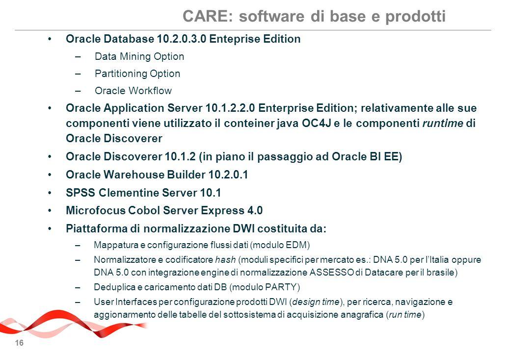 16 Oracle Database 10.2.0.3.0 Enteprise Edition –Data Mining Option –Partitioning Option –Oracle Workflow Oracle Application Server 10.1.2.2.0 Enterprise Edition; relativamente alle sue componenti viene utilizzato il conteiner java OC4J e le componenti runtime di Oracle Discoverer Oracle Discoverer 10.1.2 (in piano il passaggio ad Oracle BI EE) Oracle Warehouse Builder 10.2.0.1 SPSS Clementine Server 10.1 Microfocus Cobol Server Express 4.0 Piattaforma di normalizzazione DWI costituita da: –Mappatura e configurazione flussi dati (modulo EDM) –Normalizzatore e codificatore hash (moduli specifici per mercato es.: DNA 5.0 per l'Italia oppure DNA 5.0 con integrazione engine di normalizzazione ASSESSO di Datacare per il brasile) –Deduplica e caricamento dati DB (modulo PARTY) –User Interfaces per configurazione prodotti DWI (design time), per ricerca, navigazione e aggionarmento delle tabelle del sottosistema di acquisizione anagrafica (run time) CARE: software di base e prodotti
