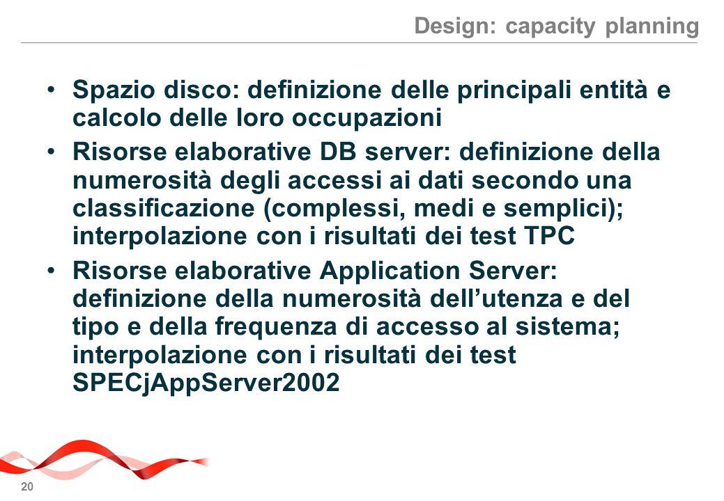 20 Design: capacity planning Spazio disco: definizione delle principali entità e calcolo delle loro occupazioni Risorse elaborative DB server: definiz