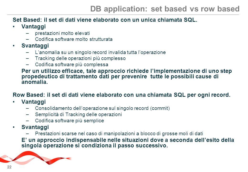 22 DB application: set based vs row based Set Based: il set di dati viene elaborato con un unica chiamata SQL.