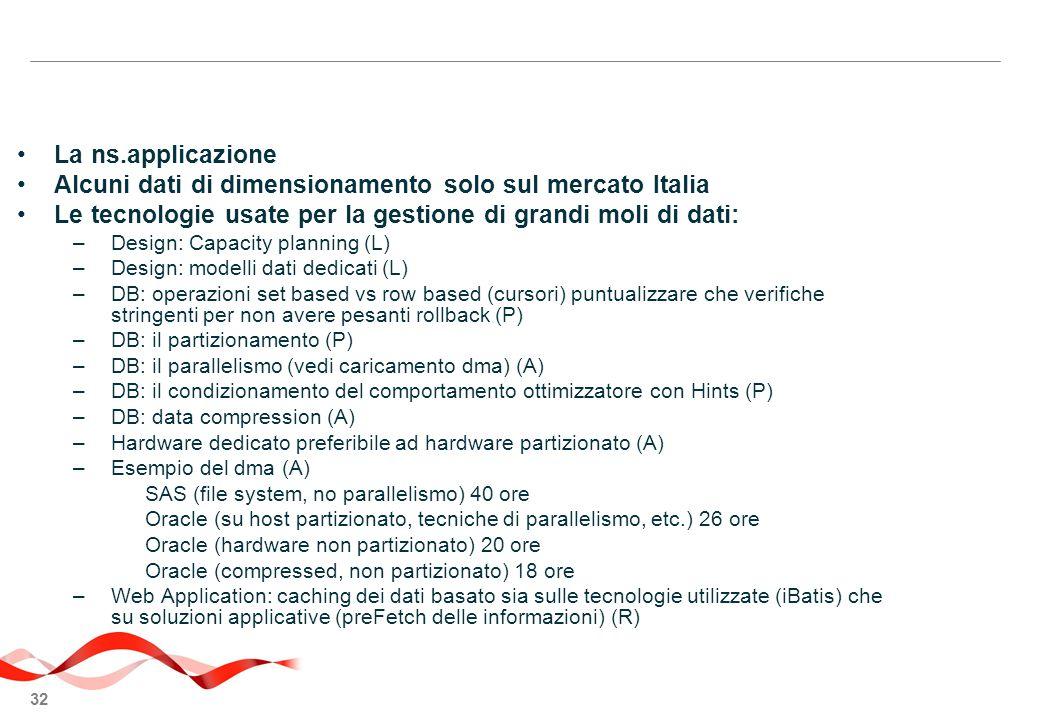 32 La ns.applicazione Alcuni dati di dimensionamento solo sul mercato Italia Le tecnologie usate per la gestione di grandi moli di dati: –Design: Capacity planning (L) –Design: modelli dati dedicati (L) –DB: operazioni set based vs row based (cursori) puntualizzare che verifiche stringenti per non avere pesanti rollback (P) –DB: il partizionamento (P) –DB: il parallelismo (vedi caricamento dma) (A) –DB: il condizionamento del comportamento ottimizzatore con Hints (P) –DB: data compression (A) –Hardware dedicato preferibile ad hardware partizionato (A) –Esempio del dma (A) SAS (file system, no parallelismo) 40 ore Oracle (su host partizionato, tecniche di parallelismo, etc.) 26 ore Oracle (hardware non partizionato) 20 ore Oracle (compressed, non partizionato) 18 ore –Web Application: caching dei dati basato sia sulle tecnologie utilizzate (iBatis) che su soluzioni applicative (preFetch delle informazioni) (R)