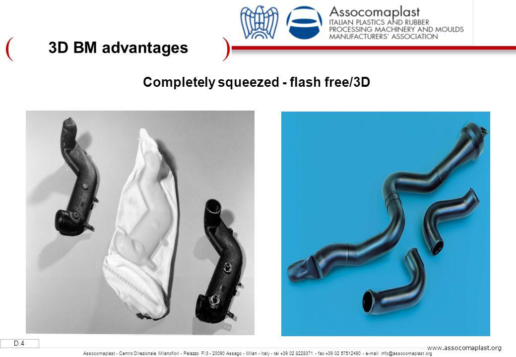 )( D.4 Assocomaplast - Centro Direzionale Milanofiori - Palazzo F/3 - 20090 Assago - Milan - Italy - tel +39 02 8228371 - fax +39 02 57512490 - e-mail: info@assocomaplast.org www.assocomaplast.org Completely squeezed - flash free/3D 3D BM advantages