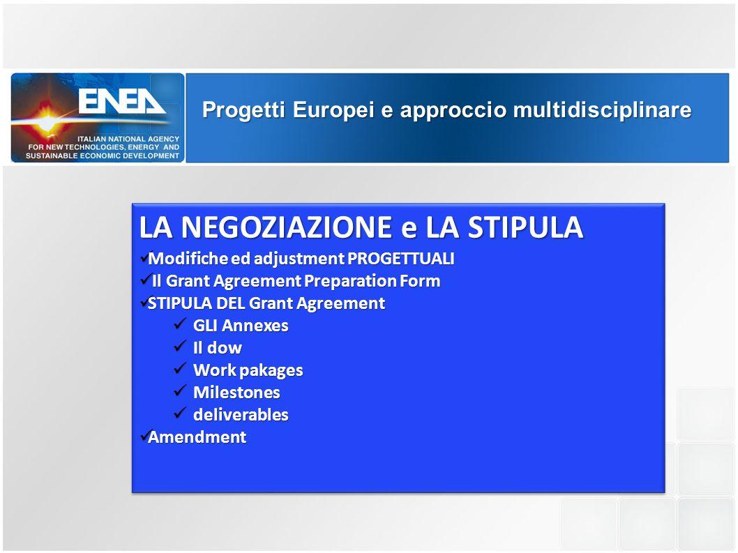 Progetti Europei e approccio multidisciplinare LA NEGOZIAZIONE e LA STIPULA Modifiche ed adjustment PROGETTUALI Modifiche ed adjustment PROGETTUALI Il