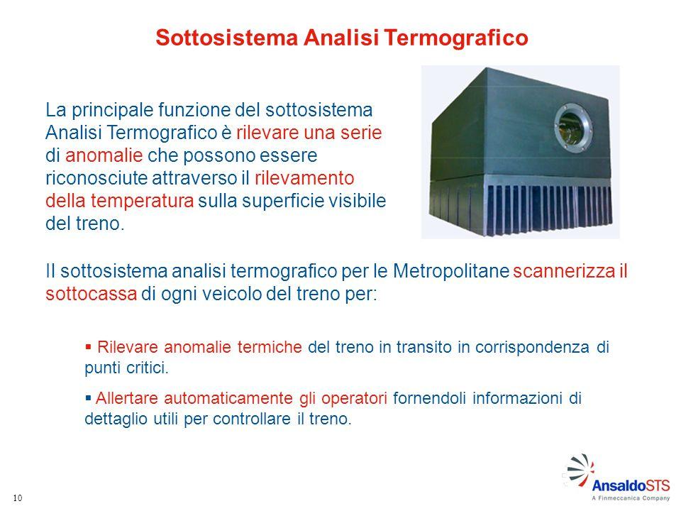10 La principale funzione del sottosistema Analisi Termografico è rilevare una serie di anomalie che possono essere riconosciute attraverso il rilevam