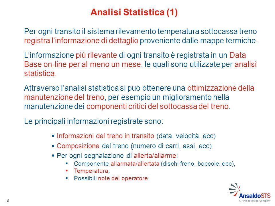 18 Analisi Statistica (1) Per ogni transito il sistema rilevamento temperatura sottocassa treno registra l'informazione di dettaglio proveniente dalle