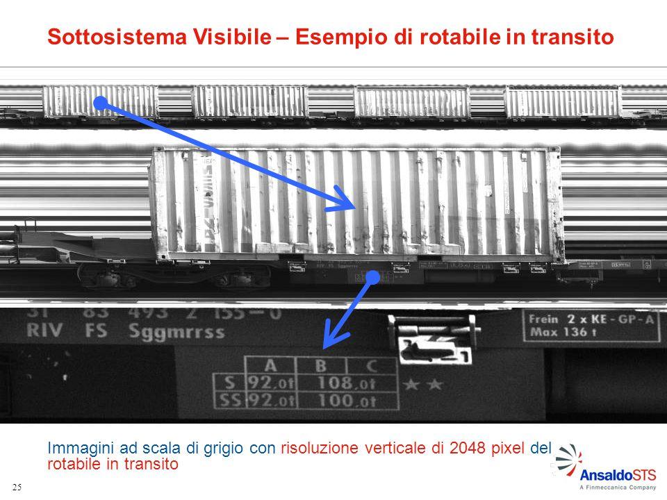 25 Immagini ad scala di grigio con risoluzione verticale di 2048 pixel del rotabile in transito Sottosistema Visibile – Esempio di rotabile in transit